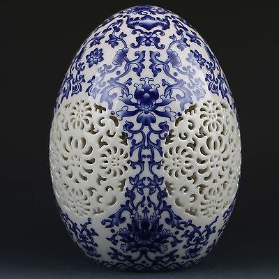 Chinese Blue & White Porcelain Hand-Painted Flower Spherical Hollow Vase