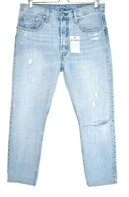 Womens Levis 501 SKINNY High Rise Slim Light Blue Ripped Jeans Size 14 W31 L26