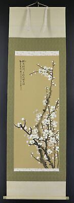 """JAPANESE HANGING SCROLL ART Painting """"Plulm blossoms"""" Asian antique  #E9777"""