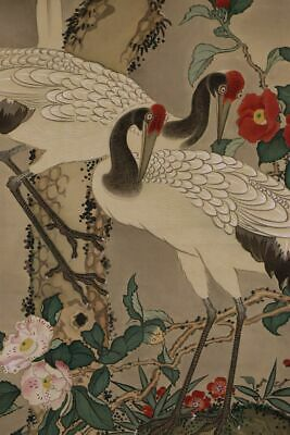 """JAPANESE HANGING SCROLL ART Painting """"Cranes"""" Asian antique  #E9795"""