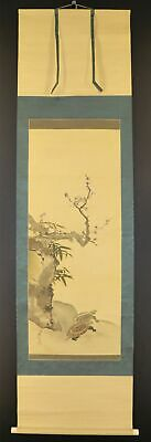 """JAPANESE HANGING SCROLL ART Painting """"Turtles"""" Asian antique  #E9792"""