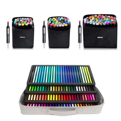 30 40 60 100 Colors Twin Marker Set Drawing Painting Art Dual Tip Sketch Pen