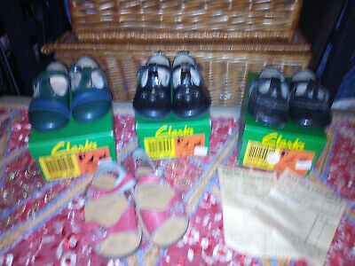 Job Lot of 3 Pairs Of Vintage Girl's Clarks Shoes in Boxes