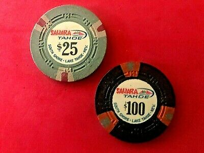 2 SAHARA CHIPS $25&$100 2nd ISS 1960s BOTH IN GOOD+CONDITION
