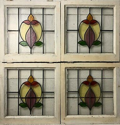 Set of 4 Reclaimed 1930s Coloured Leaded Lights Stained Glass Windows
