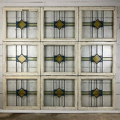 Set of 9 Diamond Design 1930s Leaded Lights Stained Glass Windows