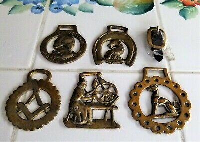Lot of 5 BRASS HORSE HARNESS MEDALLIONS Bridle Saddle Tack Equestrian EUC