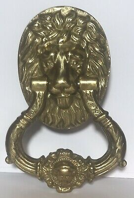 "RARE! Antique Massive Heavy Lion Head Door Knocker 8 1/2"" Solid Brass"