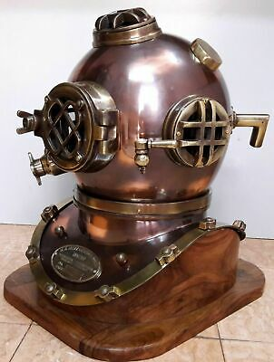 "18""Antique Divers Diving Helmet Steel Scuba Diving Helmet With Wooden Base"