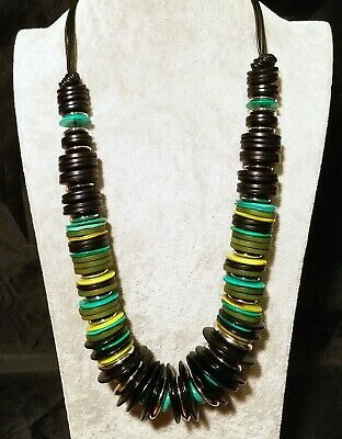 Chicos Black Leather Green Wood Teal Mother of Pearl Silver Disc Beaded Necklace