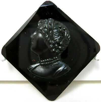 Vtg ANTIQUE Brooch Pin Art Deco or Victorian Mourning Black Glass Cameo c-clasp
