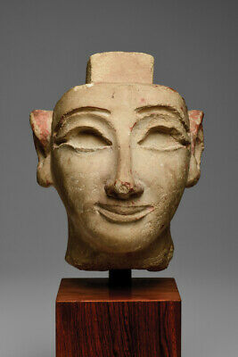 Egyptian Limestone Head Late Period 700-30 Bc