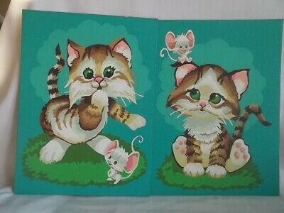 Vintage Paint by Number Completed 2 Kittens With Mouse