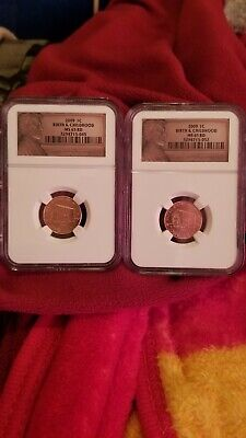 Lot Of 2-2009 P 1C Birth & Childhood Ms 65 Rd Great Rare Coins!!!