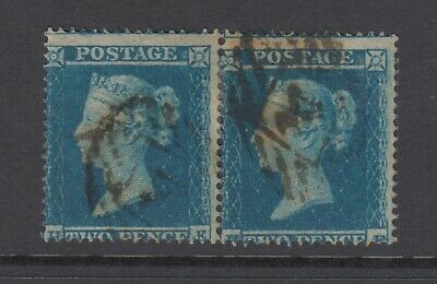 Pair of GB QV 2d Deep Blue SG19 Two Pence HE/HF Queen Victoria 1854 Used Stamps