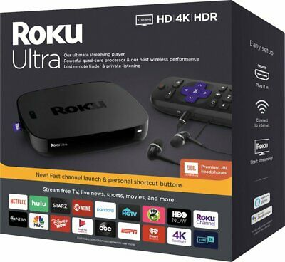 2019 Roku Ultra 4K Streaming Media Player Device w/ JBL Premium Headphones 4670R