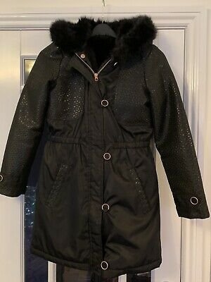 Stunning Girls Ted Baker Black Winter Coat Detachable Fur Gilet Age 14