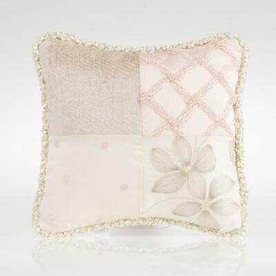 Glenna Jean Florence Patch Throw Pillow Vintage Baby Girl Nursery Pink Gray