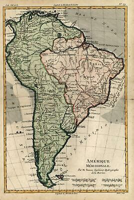 South American continent 1780 Bonne attractive engraved map lovely hand color