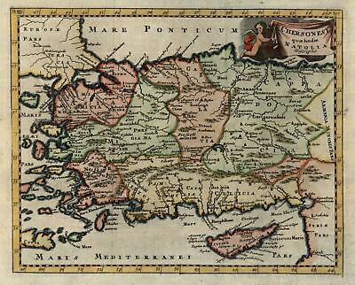 Ottoman Anatolia Turkey 1711 Nicholson lovely decorative engraved map hand color
