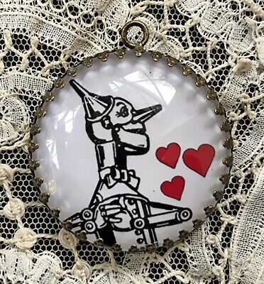 "TIN MAN IN LOVE Glass Dome 1 1/2""  PENDANT Wizard of Oz VALENTINE"