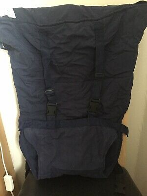 Navy Blue Fold Up Travel Baby Seat Feeding  Shoulder Straps High Chair