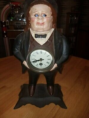 Vintage Bradley Hubbard John Bull Figural Cast Iron Moving Eye Mantle Clock
