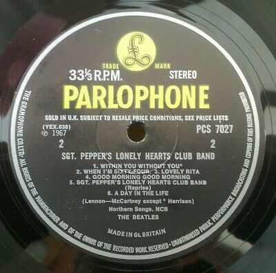 "Beatles "" Sgt Pepper "" Super Monster Rare Fonted 60'S Uk Stereo Without Tax Code"