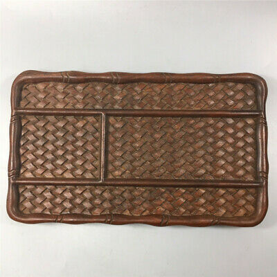 """8.86"""" Chinese Exquisite Redwood Carving Woven pattern fruit plate tea plate tray"""