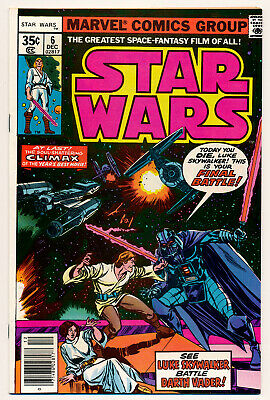 Marvel Star Wars Issue #6 News Stand Edition Comic Book 8.5 VF+ 1977