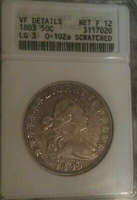 1803 Draped Bust Silver Half Dollar - Certified ANAC VF Details - Rare Coin!