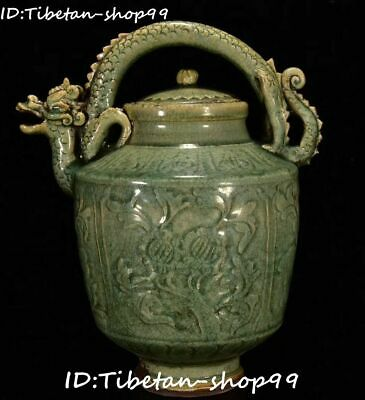 "14"" Longquan Yao Porcelain Dynasty Dragon Beast Handle Wine Teapot Flagon Statue"