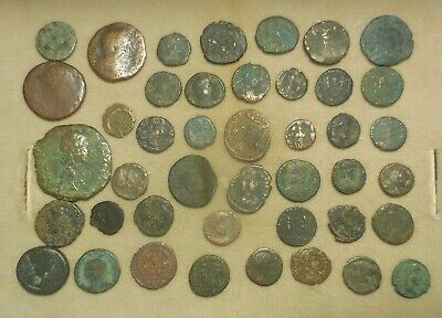 Lot of 43 Detailed Ancient Roman Coins, Largest is 34 mm!