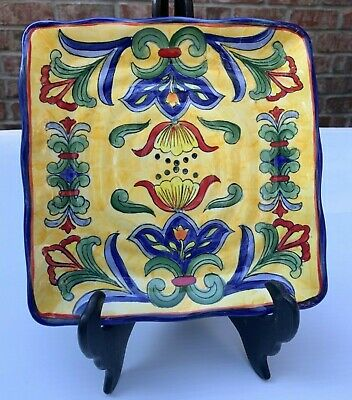 RARE Yellow Talavera Hand Painted Floral Square Mexican Art Small Platter