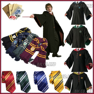 Harry Potter Gryffindor Robe Cape Cloak Scarf Cosplay School Party Costume Xmas