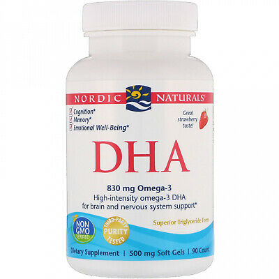Nordic Naturals, DHA, Strawberry, 500 Mg, 90 Soft Gels