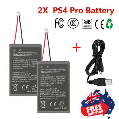 2x 2000mAh 3.7V Li ion PS4 Pro Battery For PS4 Pro Game Controller +USB Cable AU