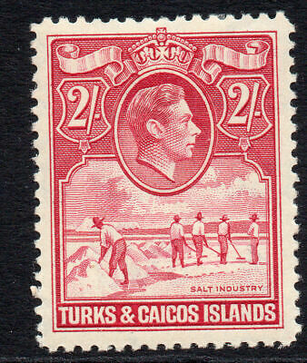Turks & Caicos Islands 2/- Stamp c1938-45 Mounted Mint