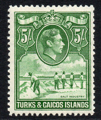 Turks & Caicos Islands 5/- Stamp c1938-45 Mounted Mint