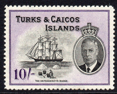 Turks & Caicos Islands 10/- Stamp c1950 Mounted Mint