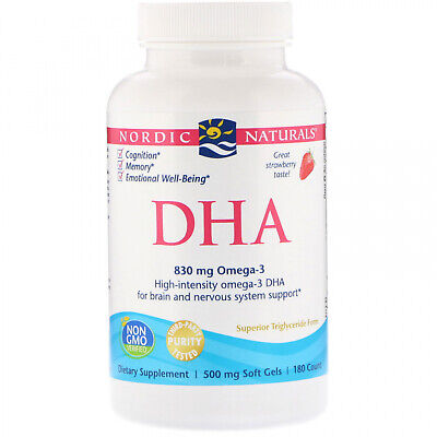 Nordic Naturals, DHA, Strawberry, 500 Mg, 180 Soft Gels