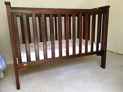 Boori King Parrot Wooden Baby Cot & Baby Bunting Mattress - Used