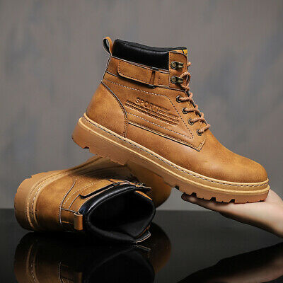 Mens Retro Work Casual Shoes Waterproof Leather Outdoor Martin Ankle Boots Sport