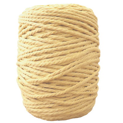 lemon 4mm macrame 3 strand rope 1kg 190m coloured string ply cotton cord yellow