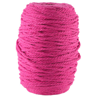 bright pink 4mm macrame 3 strand rope 1kg 180m coloured string ply cotton cord