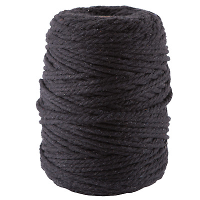 black 4mm macrame 3 strand rope 1kg 200m coloured string ply cotton cord blue