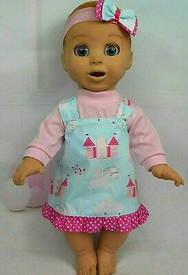 """Dolls clothes for 18"""" LUVABELLA DOLL~UNICORN & CASTLES PINAFORE~TOP~HAIR BOW"""