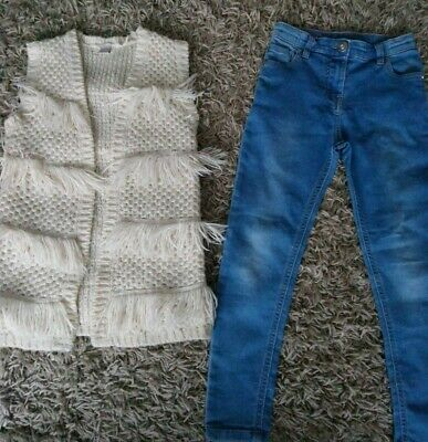 TU Girls Clothes Bundle Jeans knitted Gillet Winter Warm 7 years