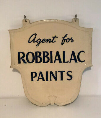 Vintage Robbialac Cast Iron Sign - Paint Shop Display Hanging Sign Man Cave