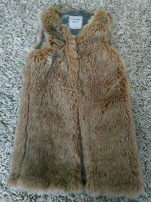 Next Girls Faux Fur Gillet 7 Years Brown Warm